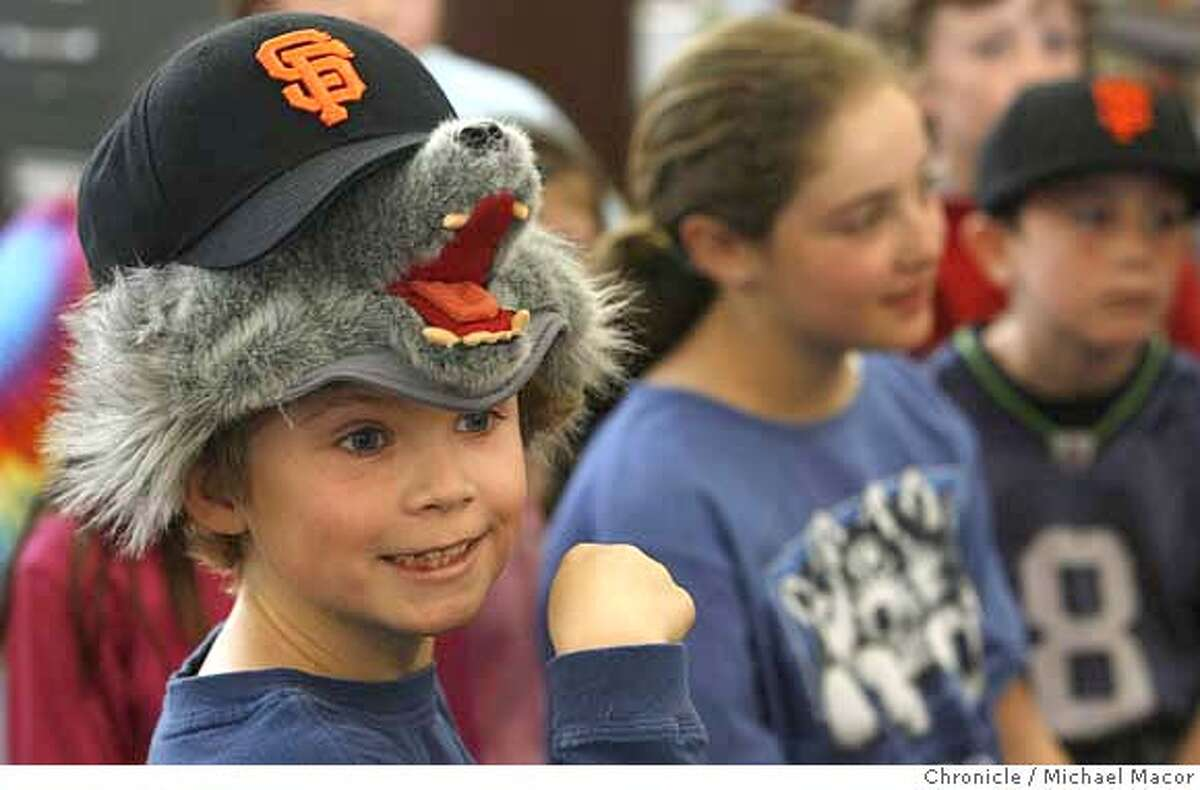 THIS ONE!--iditarod09_071_mac.jpg 3rd grader, 8 year old Andrew Cross sports a wolf hat during the class studies on Alaska. A group of San Carlos Arundel Elementary school children sent a keychain with a computer tag up to Alaska three years ago using geocaches. These are containers placed in random, hidden locations that are posted online with GPS coordinates. These hobbyists then leave things and take things from the caches. The kids put the keychain in three years ago hoping it would get to the start of the Iditarod race in Alaska. It went from geocache to geocache until it finally made it and is traveling with musher, Martin Buser, this race. Photographed in, San Carlos, Ca, on 3/8/07. Photo by: Michael Macor/ San Francisco Chronicle Mandatory credit for Photographer and San Francisco Chronicle No sales/ Magazines Out