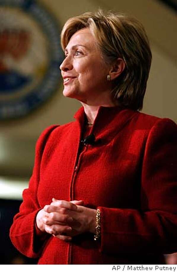 Sen. Hillary Rodham Clinton has name recognition, lots of campaign cash and a former president for a spouse. Associated Press photo by Matthew Putney