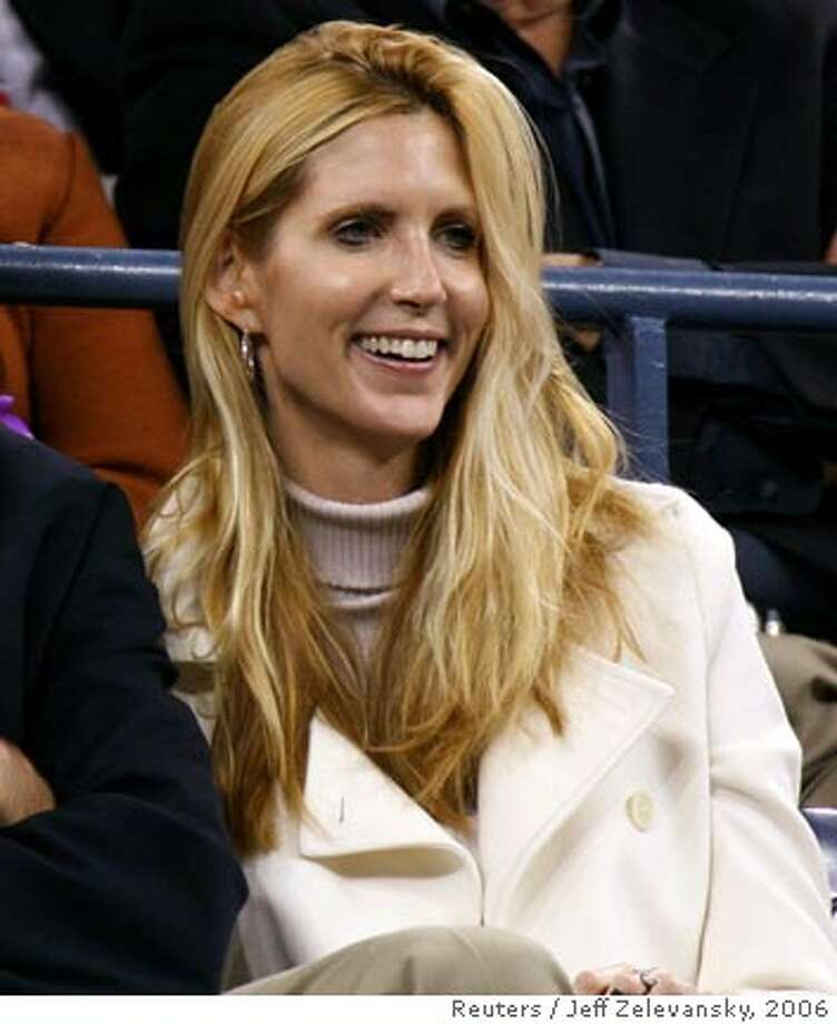 Conservative commentator Ann Coulter watches play at the U.S. Open tennis tournament in New York September 4, 2006. REUTERS/Jeff Zelevansky (UNITED STATES)  Ran on: 09-17-2006  Commentator Ann Coulter: A fan of Joe McCarthy.  Ran on: 11-02-2006  Ann Coulter is accused of voting in the wrong precinct in West Palm Beach, Fla., in February. Photo: JEFF ZELEVANSKY
