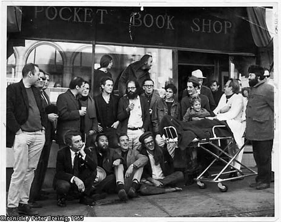 CITYLIGHTS-MT --- Dec. 3, 1965---Literature Poets of S.F. , circa 1965. Conclave of poets assembled at City Lights. Upper Top Row: Stella Levy, lawrence Ferlinghetti. Second standing row: Donald Schenker, Michael Grieg, unknown person, Mike Gibbons, David Miltger, Michael McClure, Allan Ginsberg, Dan Langton, Steve Brostan, gary Goodraw and son Homer, Richard Brautigan (in back of Goodrow). Seated: unknown person, Shig Murao, Lew Welch, Peter Orlovsk. PETER BREINIG/THE CHRONICLE 1965 Photo: PETER BREINIG
