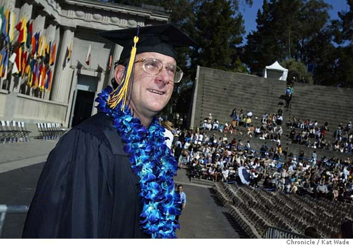 Duane Dewitt who was homeless just two years when he began at U.C. Berkeley graduated today with straight A's looks over the growing audience a The Greek Theater befor giving a commencement speach as the student speaker at his U.C. Berkeley graduation ceremony on 5/22/03 in Berkeley. KAT WADE / The Chronicle