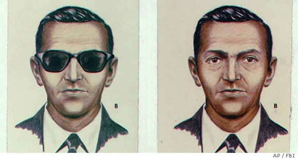 FILE--This is a 1973 file photo of a drawing of D. B. Cooper who became a legend when he jumped out of a Northwest Airlines Boeing 727 with $200,000 in ransom money 25 years ago between Seattle and Portland, Ore. Cooper hasn't been heard of since; however, some $5,880 of the loot was found along the Columbian River in 1980. Mike Cooper, who was sitting across the aisle and has a similar name, for a brief time became the most wanted man in America. (AP Photo/FBI, HO) Ran on: 09-04-2005 D.B. Cooper, shown here in a 1973 FBI drawing, became a legend when he hijacked a plane and parachuted away with $200,000.
