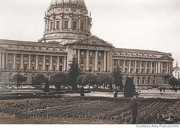 A 1943 Victory garden planted in front of San Francisco City Hall was one of many used for food production in cities around the country during World War II. Photo courtesy of Amy Franceschini