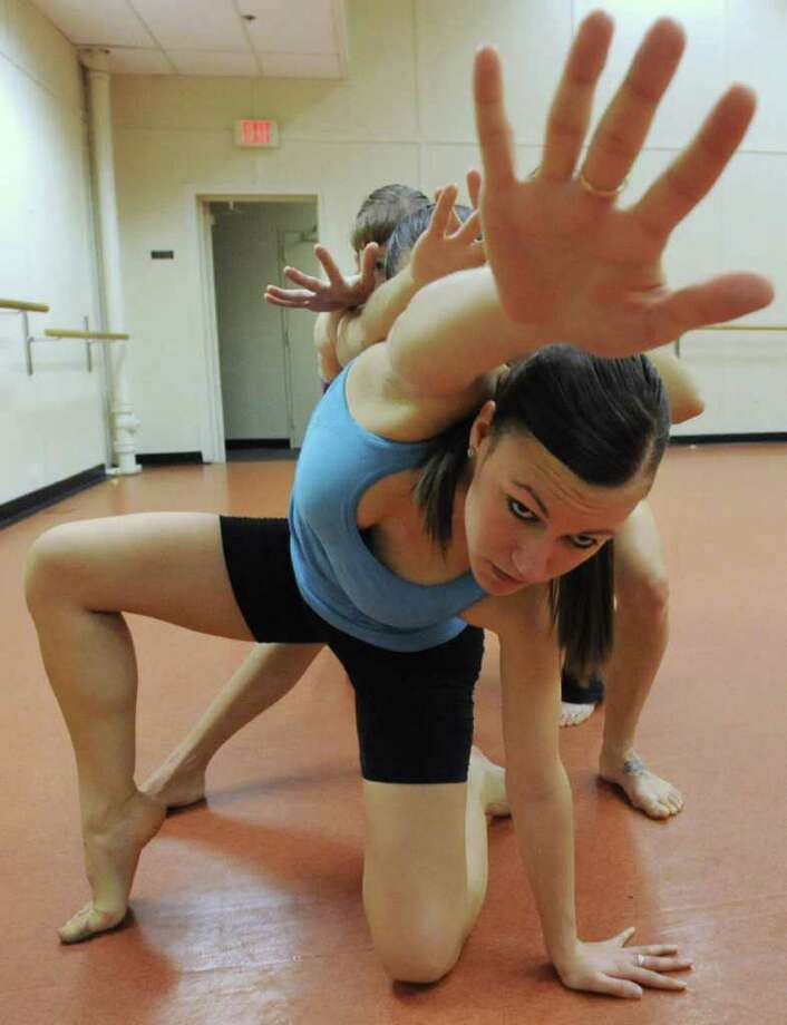 Marie Klaiber is in the front of the dancers of the Ellen Sinopoli Dance Company as they rehearse in advance of the Jan. 20 performance at The Egg Friday, Jan 13, 2012  in Albany, N.Y.  (Lori Van Buren / Times Union)T Photo: Lori Van Buren