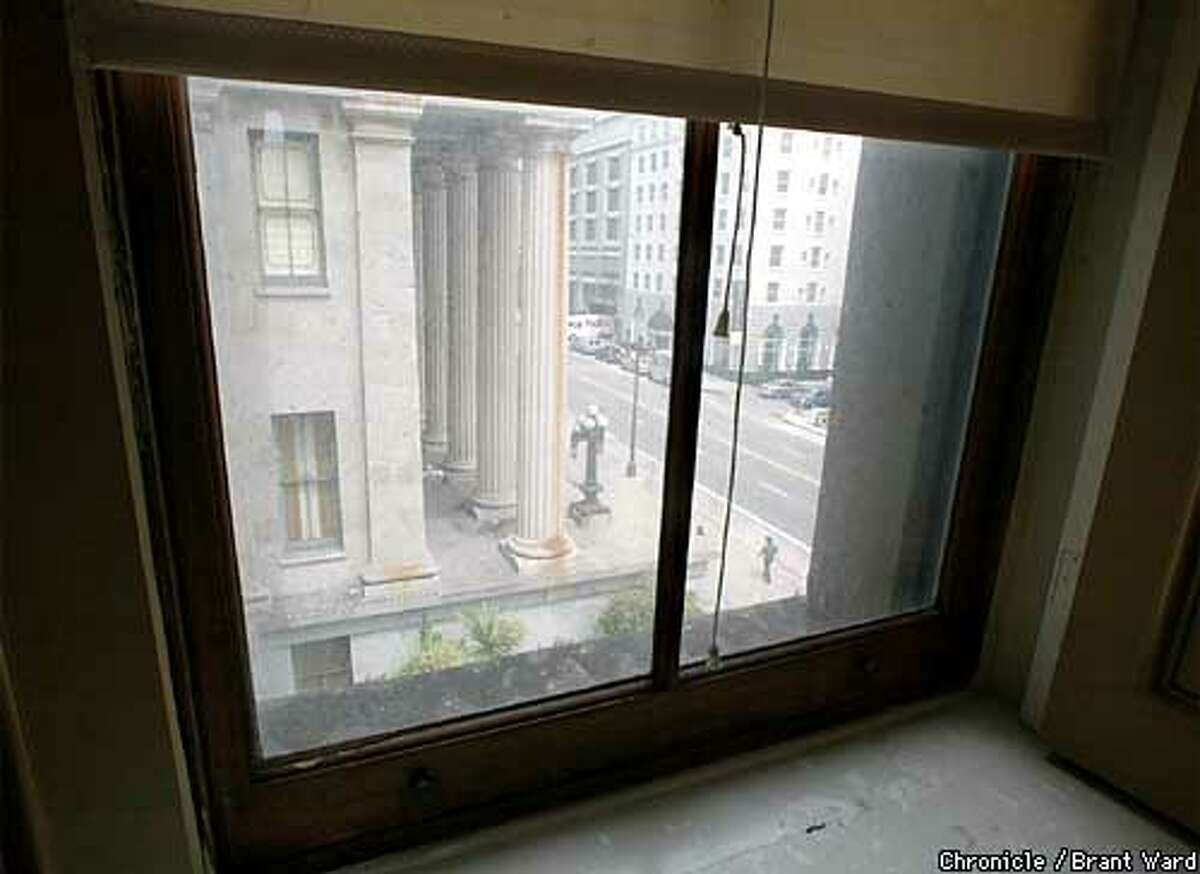 Advocates for a new San Francisco historical museum are looking at the Old Mint building at Fifth and Mission Streets as an ideal location. Here is a view from the second floor of the mint looking down on Fifth Street...the windows are made of steel...the ceilings of iron. BRANT WARD / The Chronicle