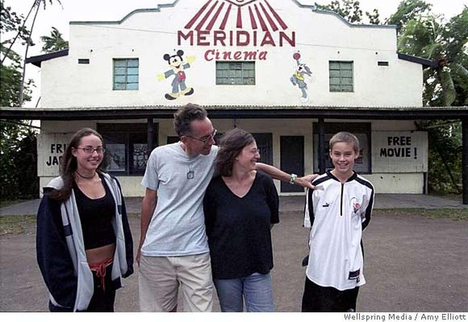 "REEL02 (L-R) Georgia, John, Janet and Wyatt Piersons in front of 180 Meridian Cinema  from movie ""Reel Paradise""  amy elliott / Wellspring Media Photo: Amy Elliott"