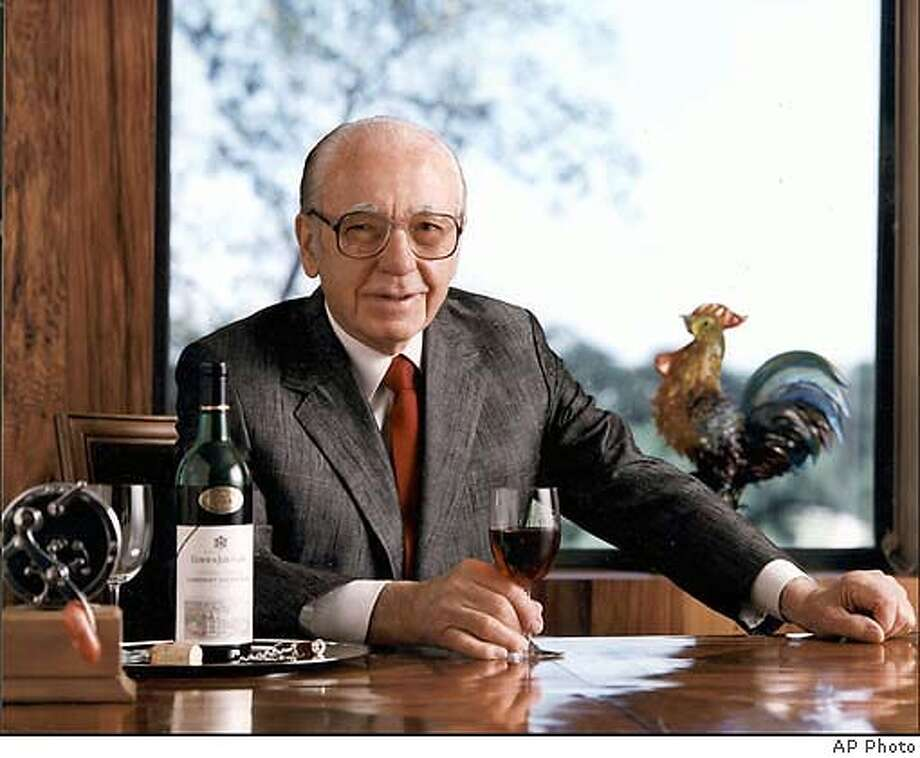 This is an undated handout photo of Ernest Gallo, chairman of E. & J. Gallo. Jurors in San Francisco began deliberations Tuesday afternoon April 1, 1997, on whether Modesto, Calif.-based Gallo, the world s largest winery, unfairly copied the trade dress, including a yellowing autumn leaf label, of rival Kendall-Jackson s bottle in order to dupe consumers and steal market share. (AP Photo/Modesto Bee, HO) , [[00000000]]