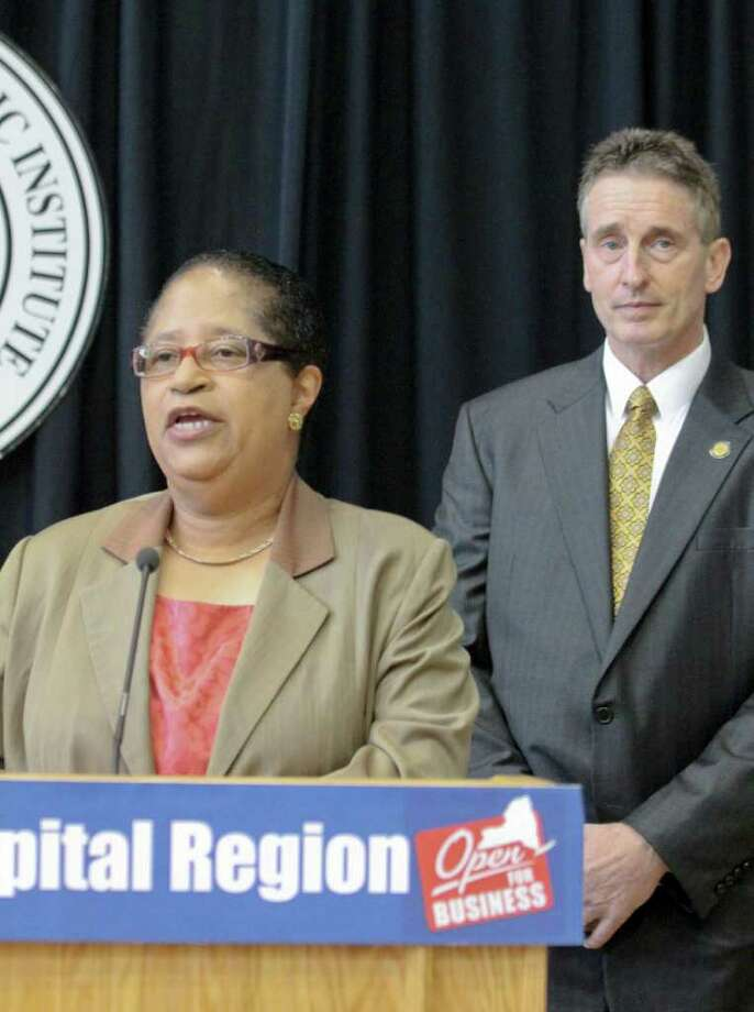 RPI President Shirley Ann Jackson, left, and Lt. Governor Robert Duffy, right, answer questions at a Capital Region Economic Development Council meeting at RPI's East Campus Athletics Village, Troy, on Thursday, Aug. 18, 2011. (Erin Colligan / Special To The Times Union) Photo: Erin Colligan / 00014327A