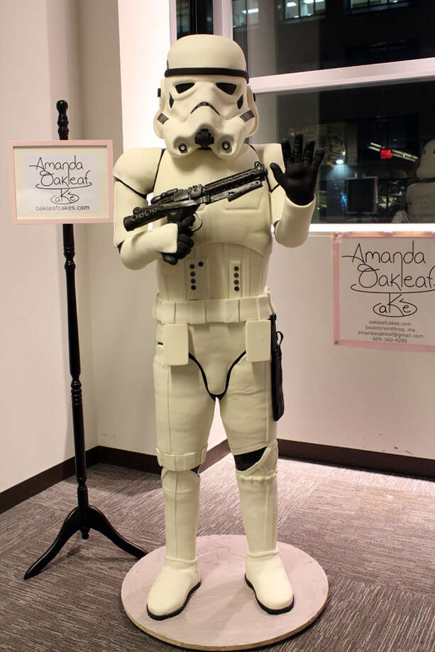 Looking for a way to make your favorite geek's next birthday super special? How about a 'Star Wars' Stormtrooper cake? The crew of 10 employees at Amanda Oakleaf Cakes, in Winthrop, Mass., spent two weeks building the cake for the Arisia Sci-Fi Convention in Boston. It was 6-feet, 4-inches tall and weighed at least 300-pounds. Photo: Amanda Oakleaf Cakes