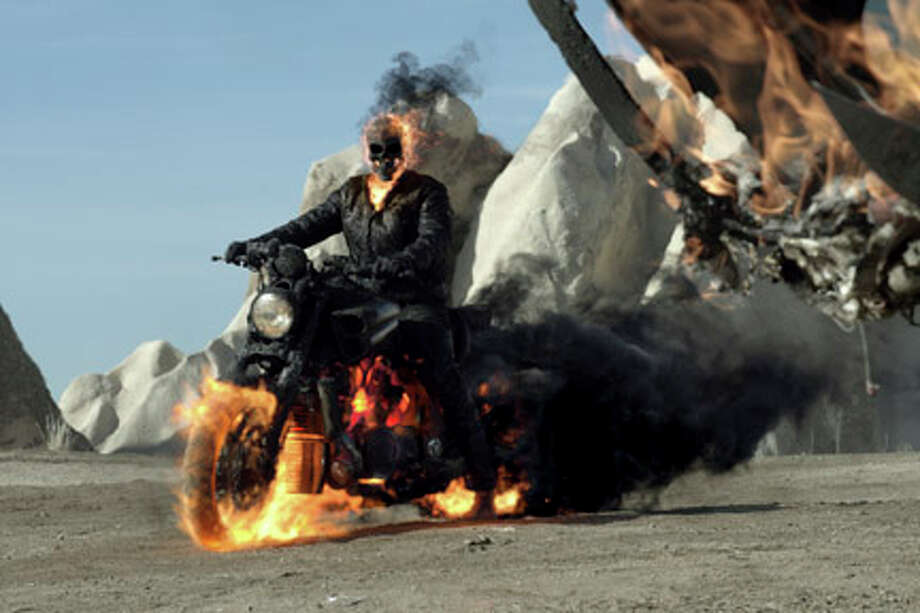 "Nicolas Cage as Ghost Rider in ""Ghost Rider: Spirit of Vengeance."""