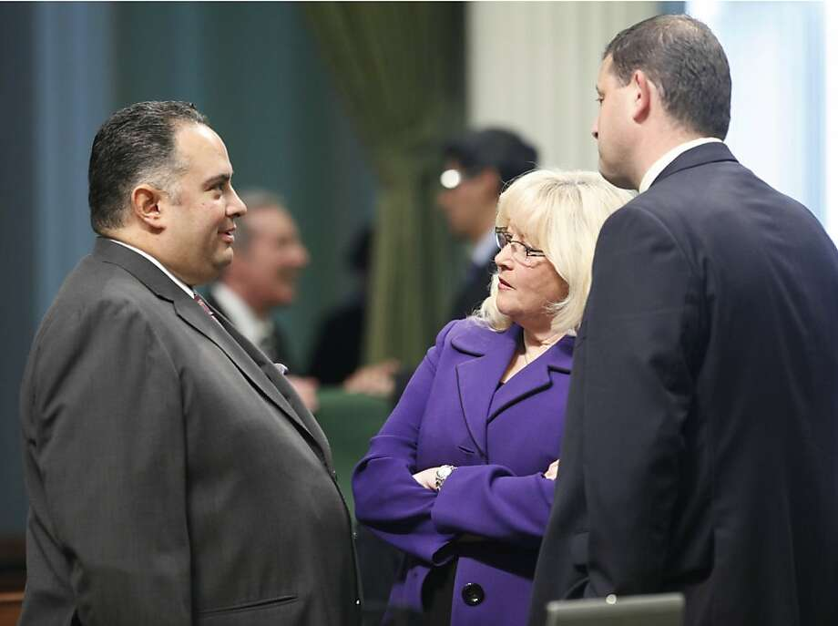 Assembly Speaker John Perez, D-Los Angeles, left, talks with Assembly Minority Leader Connie Conway, of Tulare and Assemblyman David Valadao, R-Hanford at the Capitol in Sacramento, Calif., Tuesday, Jan. 17, 2012. Gov. Jerry Brown will give his State of the State address before a joint session of the Legislature on Wednesday, Jan. 18. (AP Photo/Rich Pedroncelli) Photo: Rich Pedroncelli, Associated Press