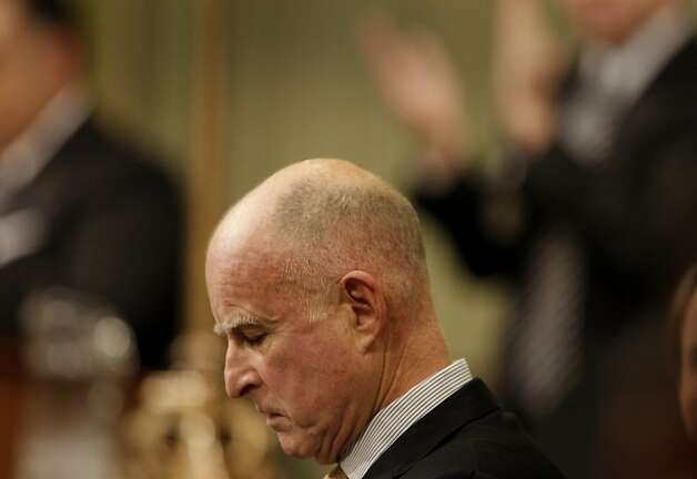 The Governor listened to the applause after his speech. California Governor Edmund G. Brown Jr. delivered his state of the state speech to dignitaries and lawmakers in the Assembly chambers at the capital in Sacramento, Calif. Wednesday January 18, 2012. Photo: Brant Ward, The Chronicle