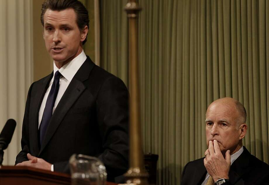 The Governor (right) listened to an introduction by his Lt. Governor Gavin Newsom. California Governor Edmund G. Brown Jr. delivered his state of the state speech to dignitaries and lawmakers in the Assembly chambers at the capital in Sacramento, Calif. Wednesday January 18, 2012. Photo: Brant Ward, The Chronicle