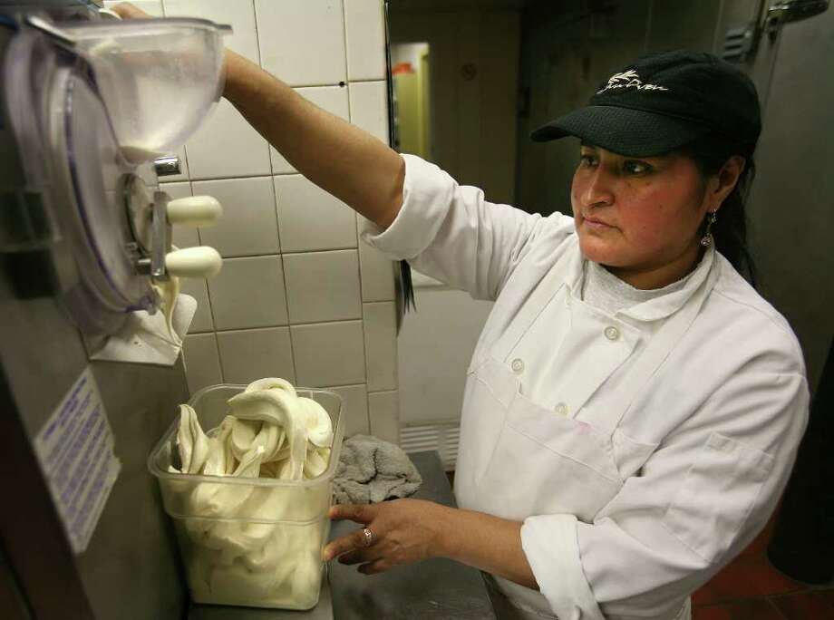 Pastry chef Maria Buona makes a batch of ricotta and fig gelato at Tuscan Oven restaurant in Norwalk recently. Photo: Brian A. Pounds / Connecticut Post