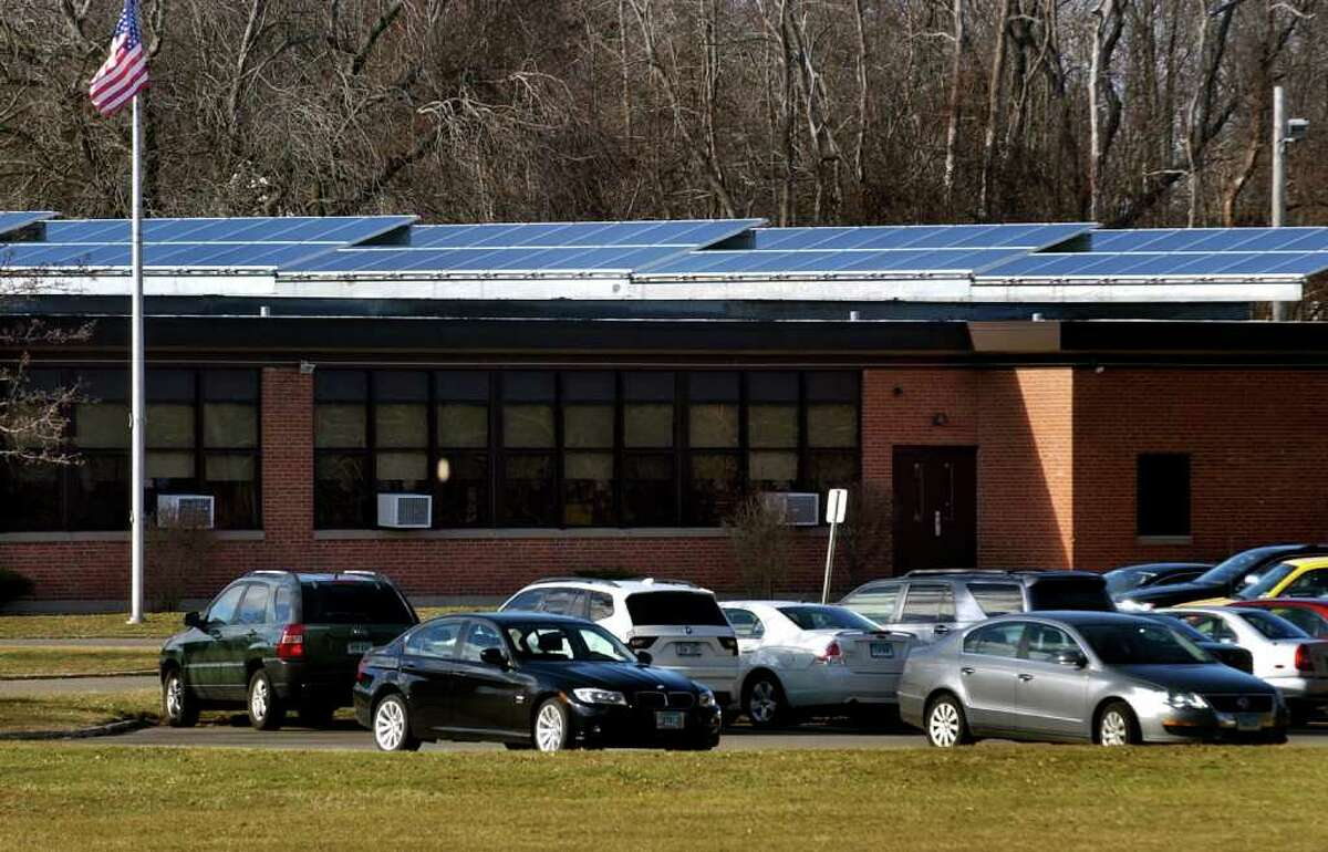 A view of solar panels on the roof at Overbrook School in East Haven, Conn. on Wednesday January 17, 2012.