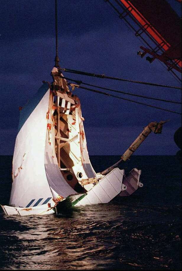 The ferry MS Estonia sank in the Baltic Sea on Sept. 28, 1994 when its bow door was ripped off in a storm. The passenger ship had been route from Estonia to Stockholm, Sweden. 852 people died, and only 137 survived. Photo: VEIKKO WAHLROOS, ASSOCIATED PRESS / AP1996