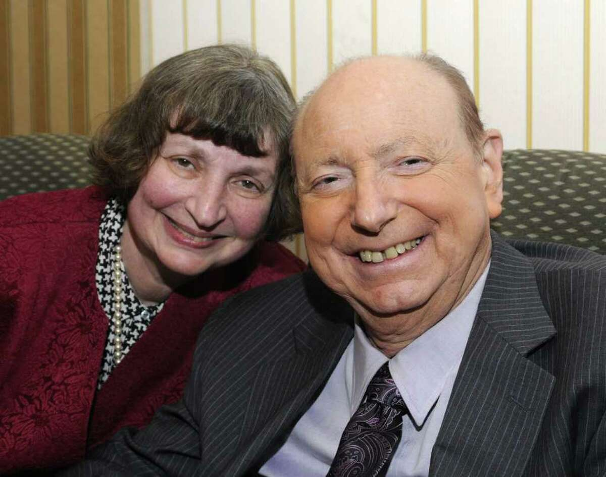 """Meteorologist and author, Dr. Mel Goldstein, and his wife, Arlene , at a reception, before giving his lecture, """"Growing up Dr. Mel"""", at Western Connecticut State University, on Tuesday, March 29, 2011."""