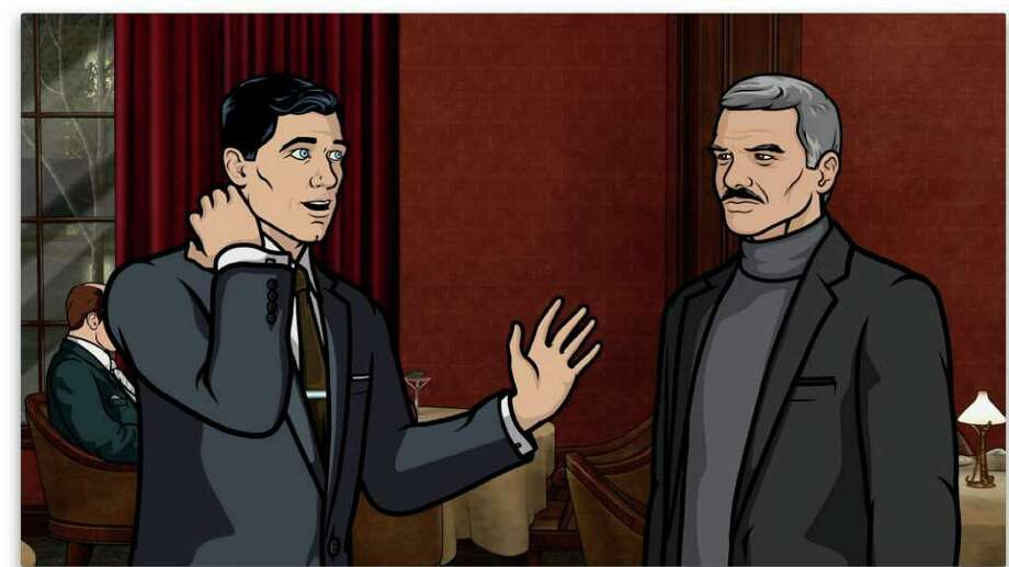 Archer (voiced by H. Jon Benjamin) meets Burt Reynolds, right, (as himself) in The Man From Jupiter episode of Archer. Photo: FX