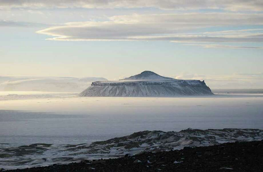 Handout photograph showing the Cockburn volcano taken on February 2011 in the Antarctica. Photo: FERNANDA REBULL / AFP