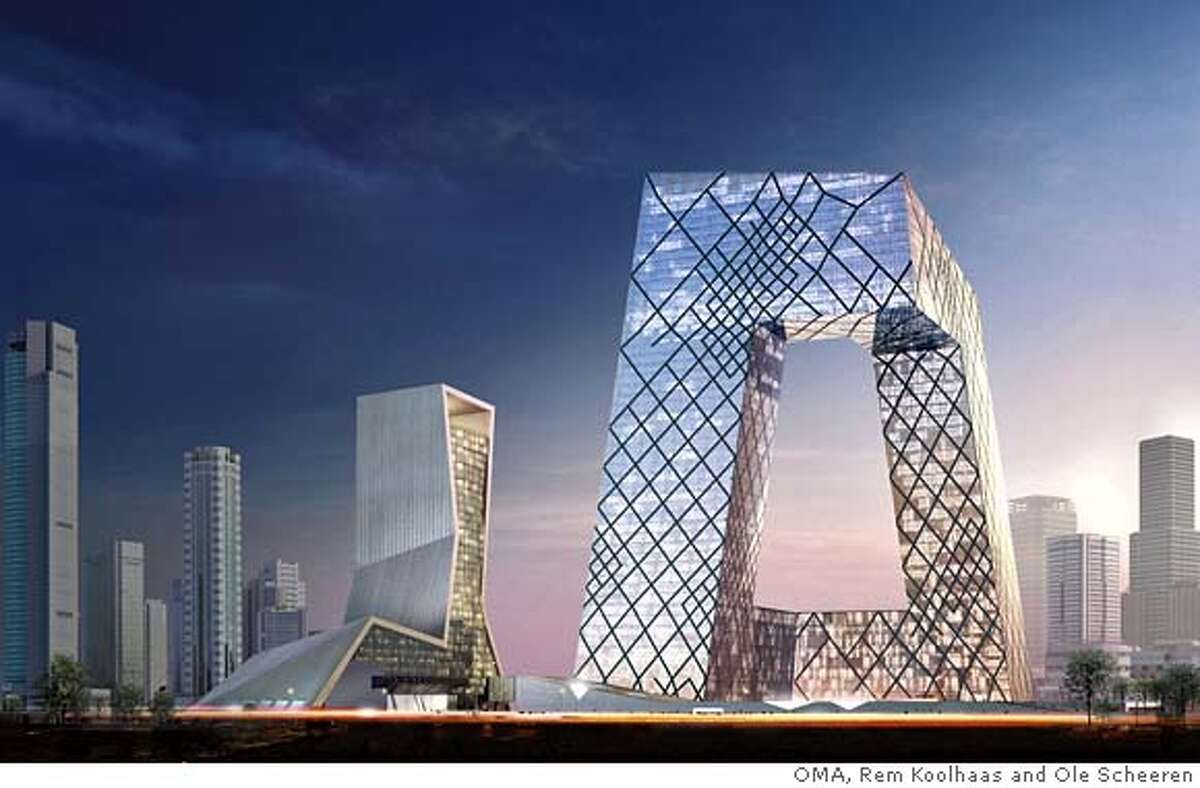 CCTV tower being built for Communist China's television headquarters. The design is best likened to a sharp-edged Mobius strip. � OMA, Rem Koolhaas and Ole Scheeren