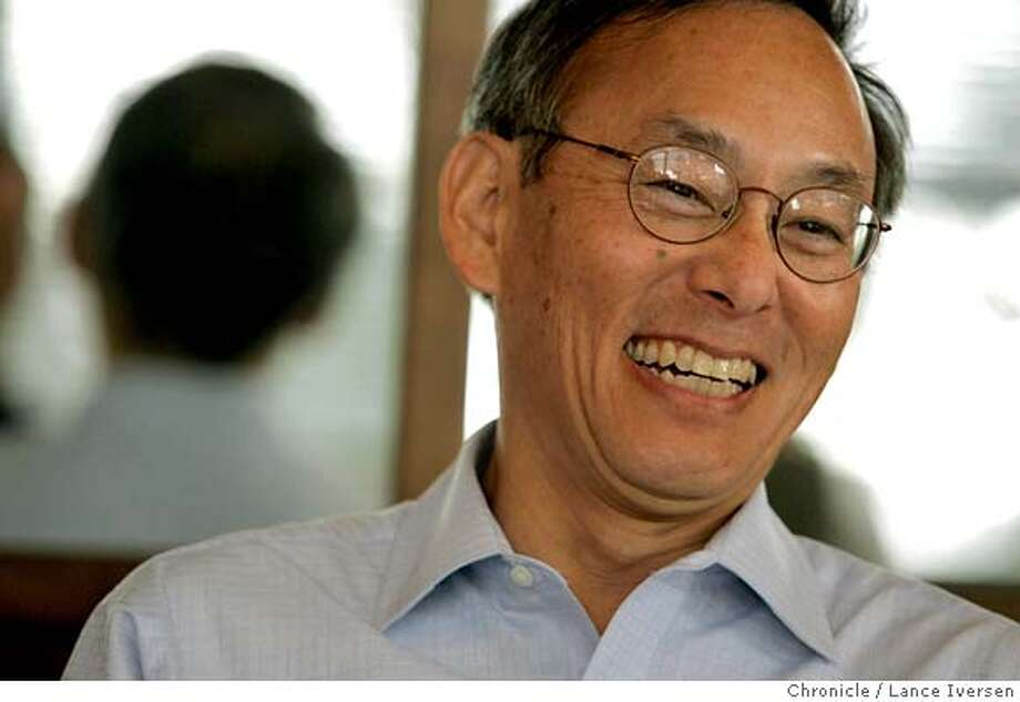 STEVECHU02_8338.JPG  Lawrence Berkeley Lab Director Steven Chu sits down for a monthly Brown Bag Lunch with fellow scientist from the Accelerator Group. Chu's emerging as a national leader for the role science can play to avert climate change catastrophe. He's realigned the lab to focus on energy research and is particularly interested in solar energy, envisioning large arrays of new, high-efficiency solar panels providing a large chunk of US electricity and liquid fuel needs. February 27, 2007. BERKELEY.  By Lance Iversen/San Francisco Chronicle MANDATORY CREDIT PHOTOG AND SAN FRANCISCO CHRONICLE/NO SALES MAGS OUT Photo: By Lance Iversen