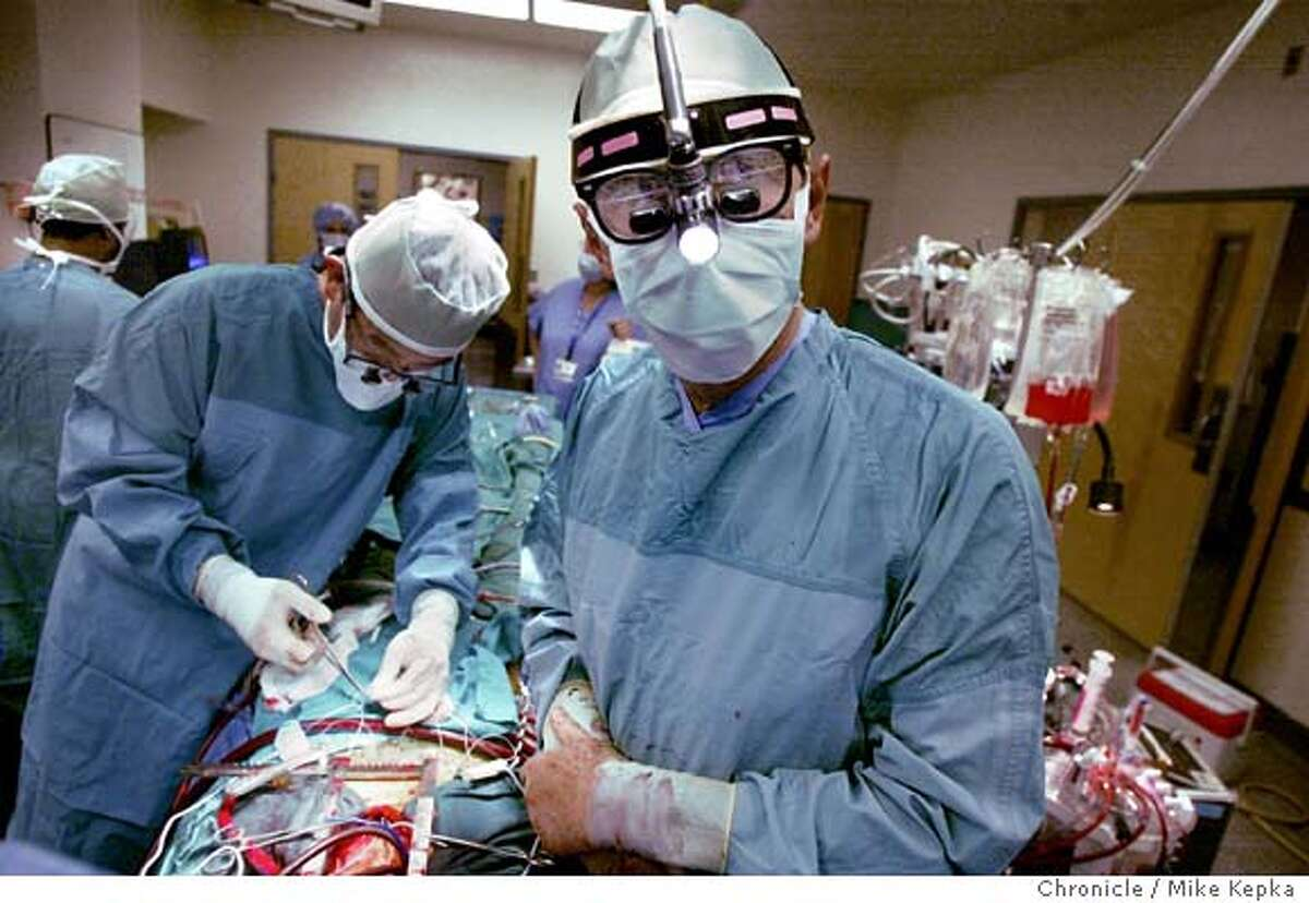 Vascular sugeon, Vincent Gaudiani, performs a mitral valve replacement on a patient at Sequoia Hospital on 4/22/04 in Redwood City. MIKE KEPKA / The Chronicle