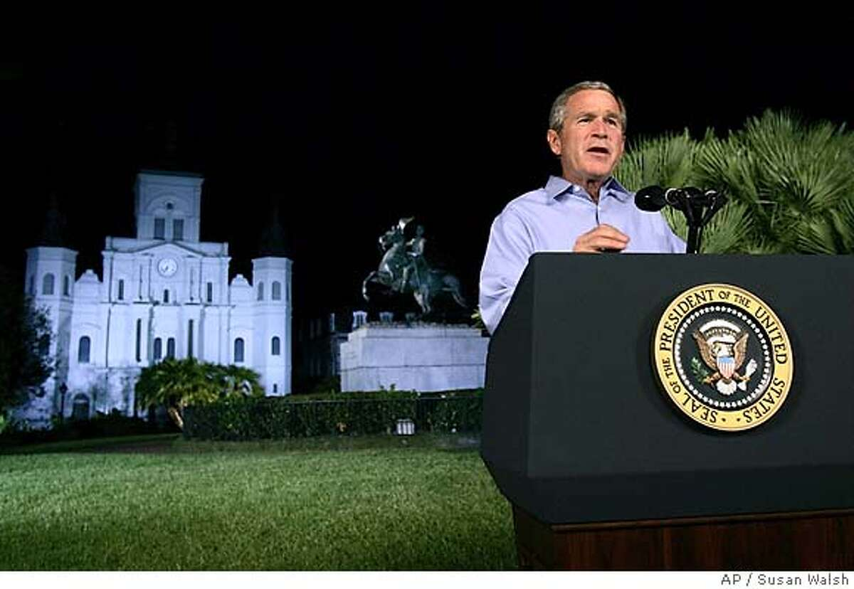 President Bush concludes his remarks following his nationally televised address from Jackson Square in New Orleans, Thursday, Sept. 15, 2005. Bush announced a new reconstruction plan to help rebuild the area damaged by Hurricane Katrina. (AP Photo/Susan Walsh)