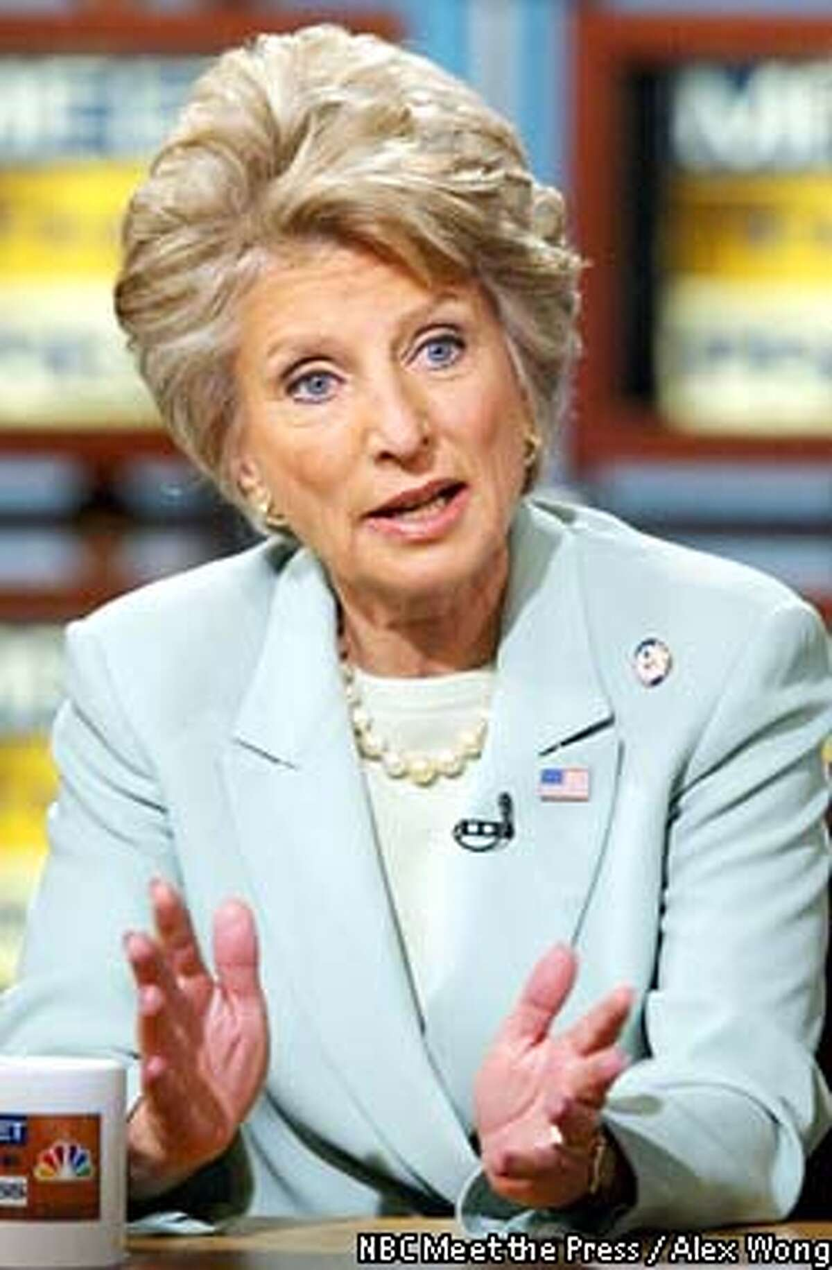 """Rep. Jane , D-Calif., is interviewed on NBC's """"Meet the Press"""" in Washington, May 18, 2003. spoke about the recent terrorist attacks in Saudi Arabia, the war on terrorism., and U.S.-Saudi relations. (AP Photo/NBC Meet the Press, Alex Wong) ** MANDATORY CREDIT **"""