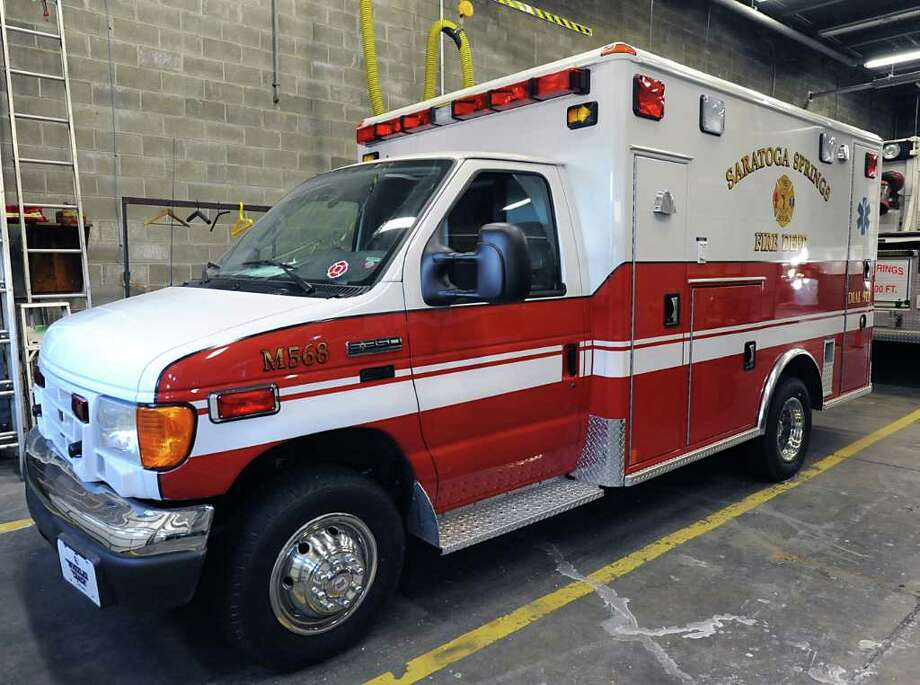 A 2007 Ford ambulance is parked in the Saratoga Springs Fire Station #2 Wednesday, Jan 18, 2012 in Saratoga Springs, N.Y.  The fire deptartment will now use this ambulance to transport EMS patients after the City Council voted to replace emergency ambulance service with fire dept. (Lori Van Buren / Times Union) Photo: Lori Van Buren