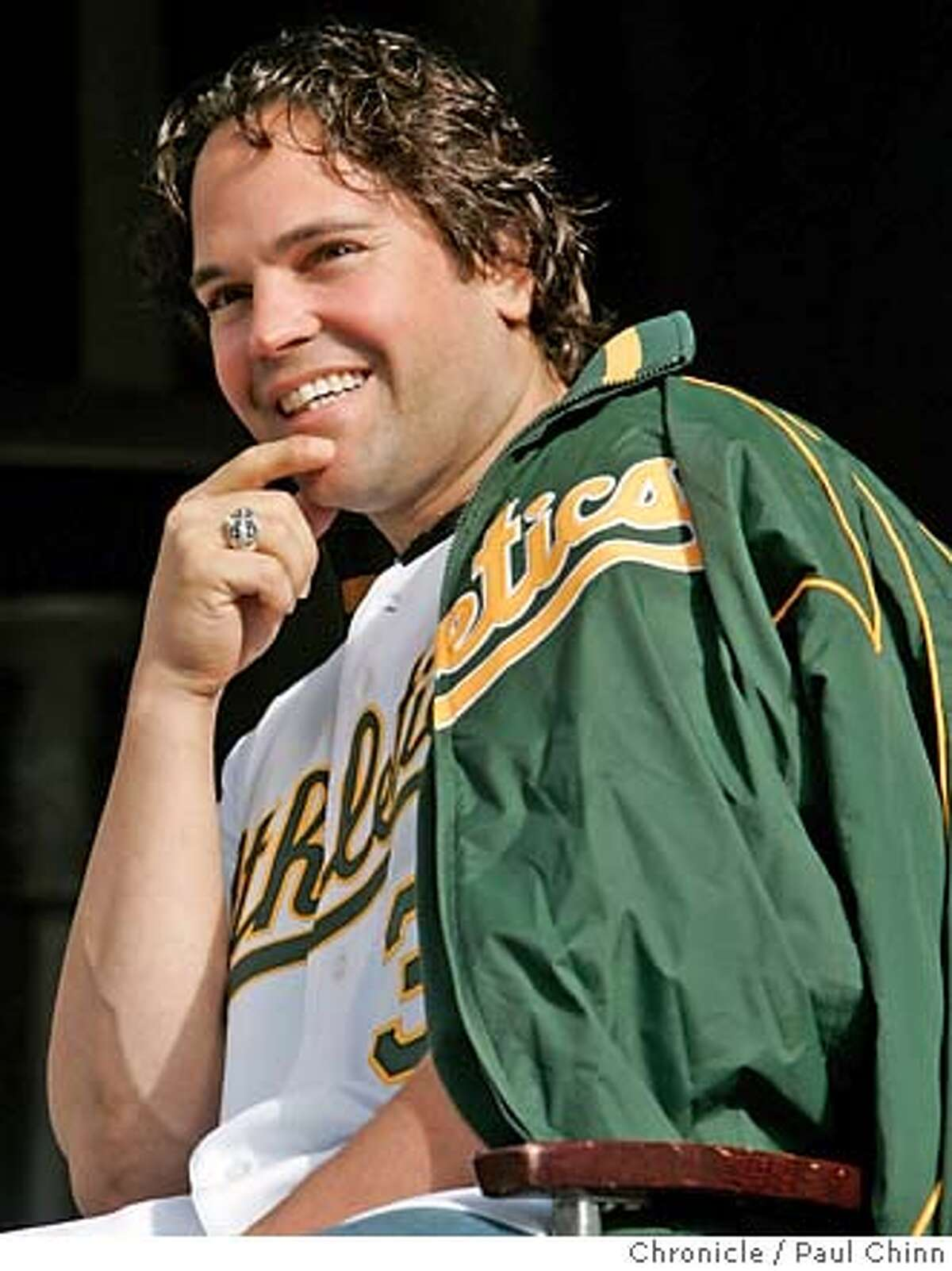 Mike Piazza, the team's new designated hitter, charms the fans during a Q & A session at the Oakland A's Fanfest event at McAfee Coliseum in Oakland, Calif. on Saturday, Jan. 27, 2007. PAUL CHINN/The Chronicle **Mike Piazza fanfest28 MANDATORY CREDIT FOR PHOTOGRAPHER AND S.F. CHRONICLE/NO SALES - MAGS OUT