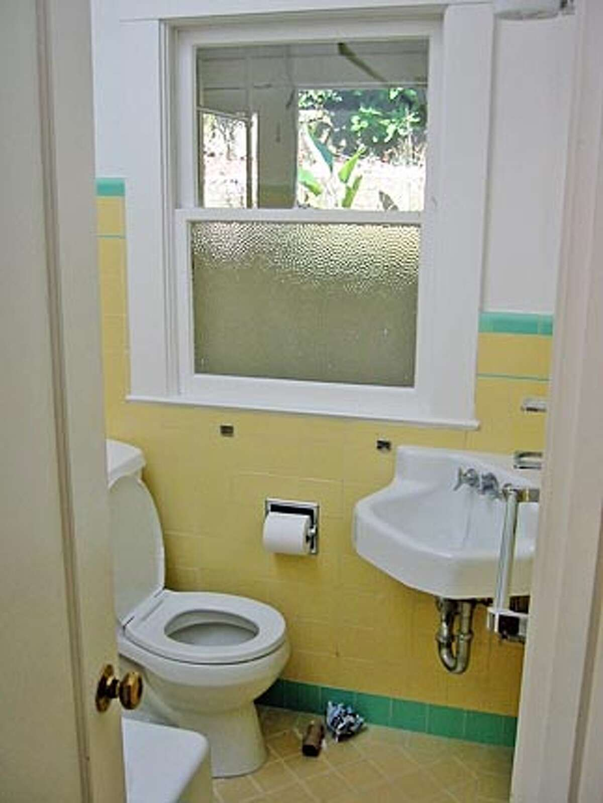 A before shot of the gutted a rebuilt bathroom in an 800-square-foot Noe Valley house.