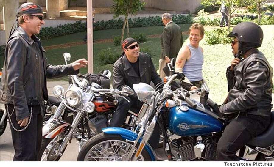 """Wild Hogs""  (L-R) Tim Allen, John Travolta, William H. Macy, Martin Lawrence  Photo credit: LOREY SEBASTIAN  �Touchstone Pictures. All rights reserved. Photo: LOREY SEBASTIAN"