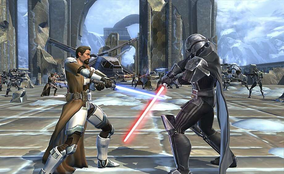 "A scene in the ""Star Wars: The Old Republic"" video game, in an undated handout image. On Dec. 20, Electronic Arts will release ""Star Wars,"" a sprawling multiplayer online adventure that is the first legitimate competition that World of Warcraft has faced for the hearts, minds, hours and dollars of millions of players. (BioWare/Electronic Arts via The New York Times) -- NO SALES; FOR EDITORIAL USE ONLY WITH STORY SLUGGED GAMES WARCRAFT STAR WARS. ALL OTHER USE PROHIBITED. - Photo: Bioware, New York Times"