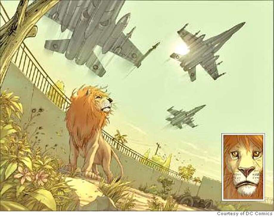 "Photo is of Brian K. Vaughn's graphic novel, ""Pride of Baghdad."" Credit: Courtesy of DC Comics Photo: Courtesy Of DC Comics"