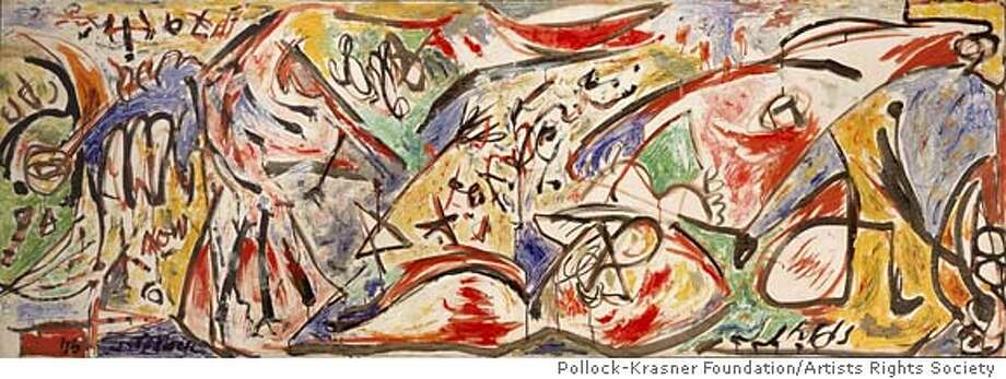 18. Jackson Pollock, The Water Bull, c. 1946; oil on canvas; 30 1/8 x 84 7/8 in. (76.5 x 215.6 cm); Stedelijk Museum, Amsterdam; � 2006 Pollock-Krasner Foundation/Artists Rights Society (ARS), New York Photo: Ho