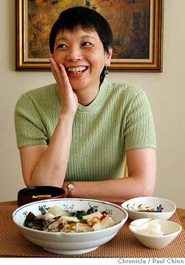 Keiko Sakuma, of Kaygetsu restaurant, is ready to eat her lunch of tofu miso soup and sake-steamed tai snapper at her home in Belmont, Calif. on Monday, February 19, 2007.  PAUL CHINN/The Chronicle  **Keiko Sakuma MANDATORY CREDIT FOR PHOTOGRAPHER AND S.F. CHRONICLE/NO SALES - MAGS OUT