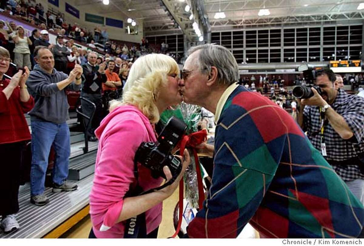 SANTACLARA_MEN_382_KK.JPG Santa Clara Head Coach Dick Davey kisses his wife Jeanne Davey during a standing ovation after Davey coached his last home game at Santa Clara. The Broncos beat U.C. San Diego in mens' basketball action at Leavey Center in Santa Clara. Saturday night. Photo by Kim Komenich/The Chronicle. **Dick Davey, Jeanne Davey �2007, San Francisco Chronicle/ Kim Komenich MANDATORY CREDIT FOR PHOTOG AND SAN FRANCISCO CHRONICLE. NO SALES- MAGS OUT.