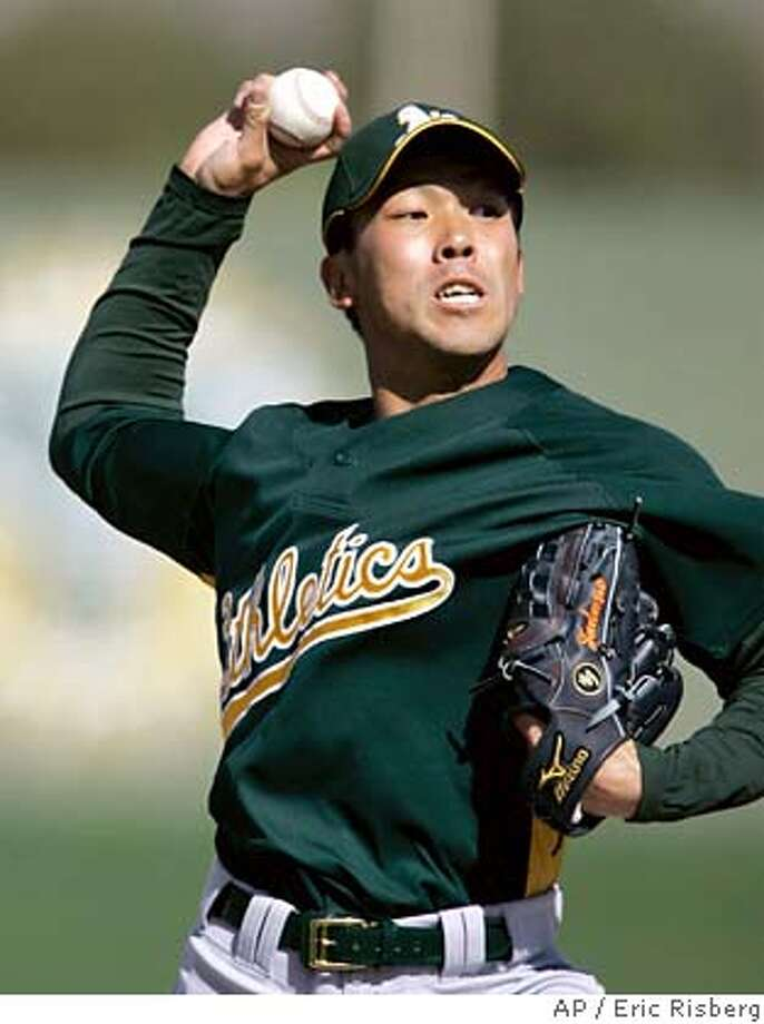 Oakland Athletics' pitcher Kaz Tadano, of Japan, throws batting practice during their spring training baseball workout in Phoenix, Sunday, Feb. 25, 2007. (AP Photo/Eric Risberg) Photo: Eric Risberg