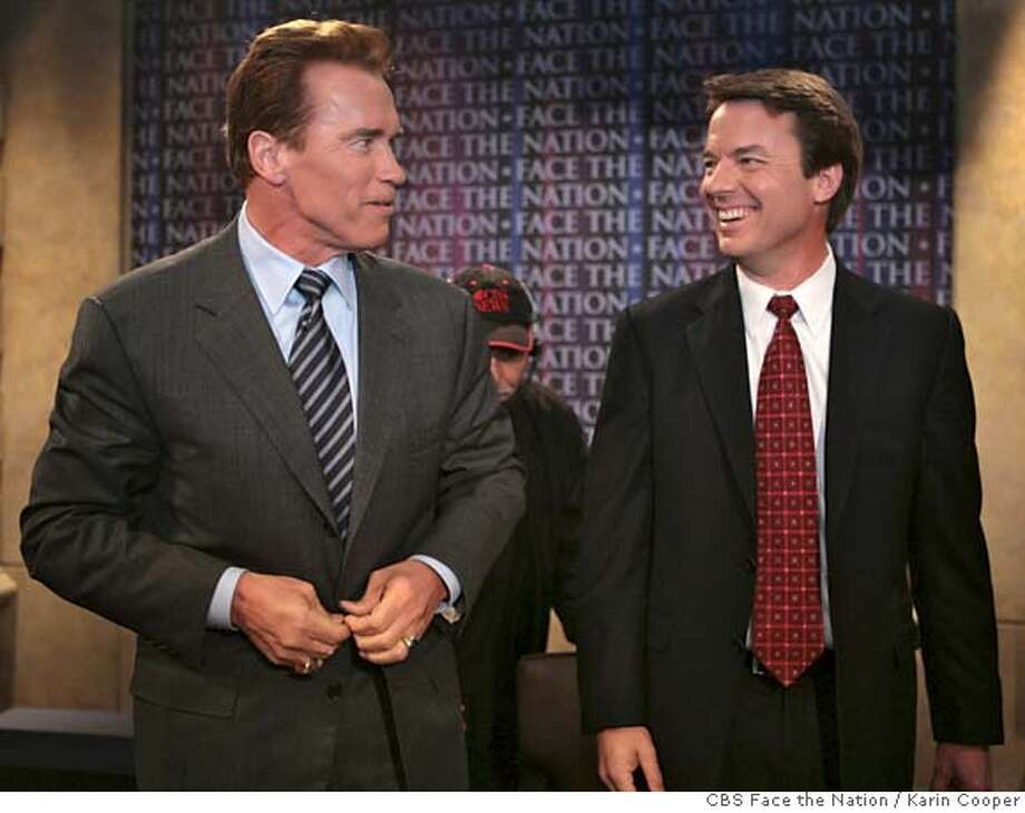 "In this photo provided by CBS, California Gov. Arnold Schwarzenegger meets Democratic presidential hopeful, former Sen. John Edwards, on CBS's ""Face the Nation"" in Washington, Sunday, Feb. 25, 2007. (AP Photo/CBS Face the Nation, Karin Cooper) ** MANDATORY CREDIT: FACE THE NATION, KARIN COOPER NO SALES NO ARCHIVE ** MANDATORY CREDIT: FACE THE NATION, KARIN COOPER NO SALES NO ARCHIVE,NO SALES Photo: KARIN COOPER"
