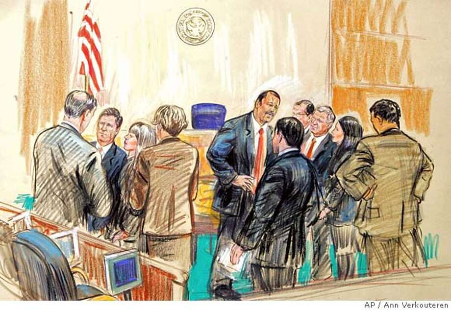 This artist rendering shows the defense and prosecution teams discussing procedure over the released jury member in the I. Lewis 'Scooter' Libby perjury trial, Monday, Feb. 26, 2007 at Federal Court in Washington. (AP Photo/Ann Verkouteren) ARTIST RENDERING Photo: ANN VERKOUTEREN
