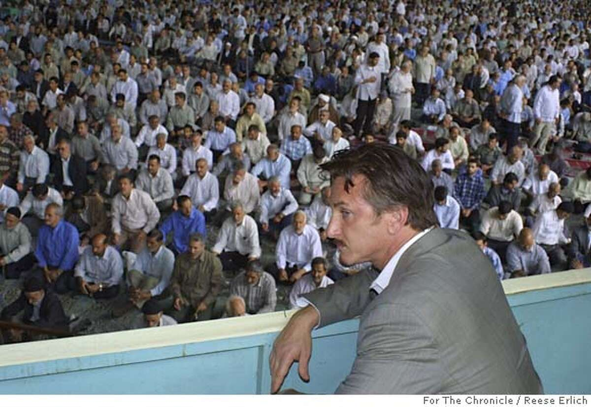 Sean Penn at the Friday prayers at Tehran University in Iran. June 2005. photo by Reese Erlich.