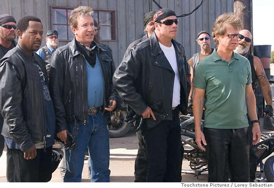 """Wild Hogs""  (L-R) Martin Lawrence, Tim Allen, John Travolta, William H. Macy �Touchstone Pictures. All rights reserved. Photo: LOREY SEBASTIAN"