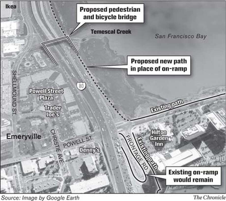 Proposed Pedestrian and Bicycle Bridge. Chronicle Graphic