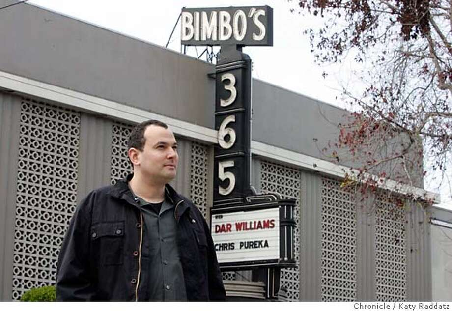 ONTHETOWN_KURLAND_028_RAD.jpg SHOWN: Jordan Kurland, co-founder of the Noise Pop Festival, photographed with the Bimbo's marquee in the background as per Russell Yip's request. These pictures were made on Wednesday, Jan. 31, 2007, in San Francisco, CA. (KATY RADDATZ/SFCHRONICLE) **Jordan Kurland Mandatory credit for the photographer and the San Francisco Chronicle. No sales; mags out. Photo: Katy Raddatz