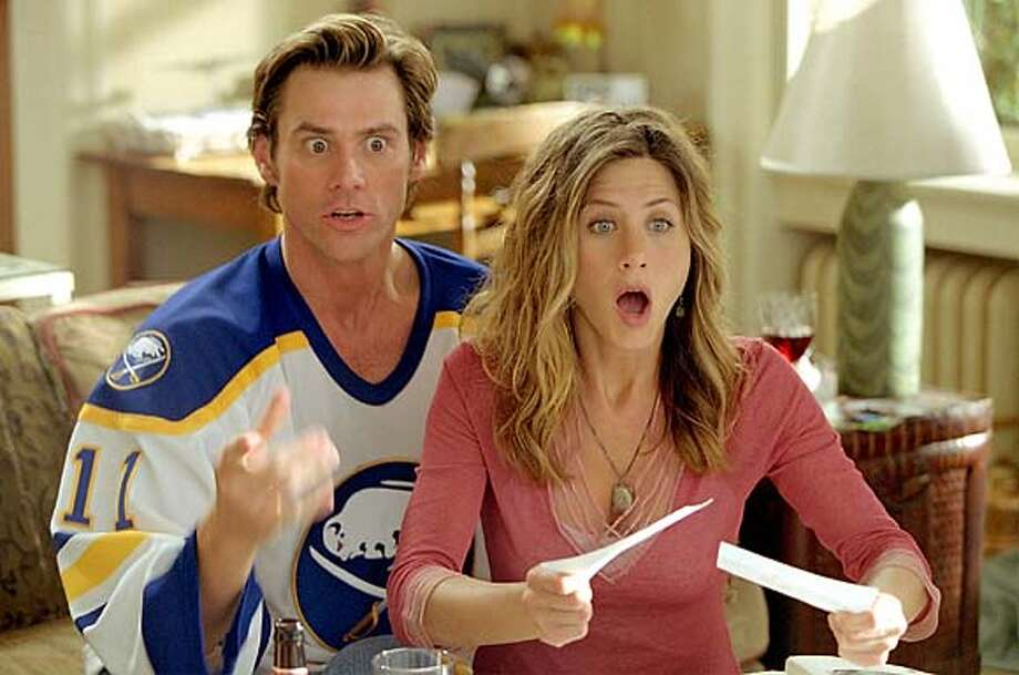 THIS IS A HANDOUT IMAGE. PLEASE VERIFY RIGHTS. Jim Carrey stars as Bruce Nolan and Jennifer Aniston as his girlfriend Grace in Bruce Almighty.  HANDOUT PHOTO/VERIFY RIGHTS AND USEAGE Photo: HANDOUT