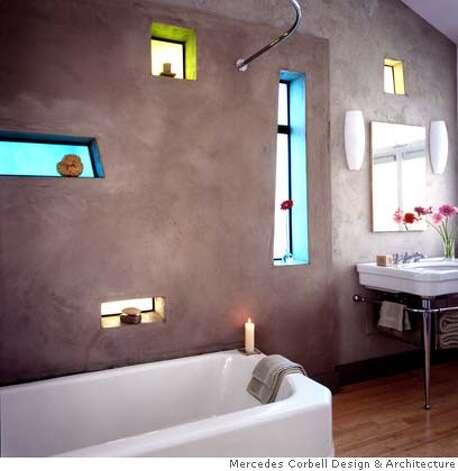 A whimsical ecologically sound master bath sfgate for Bathroom gate design