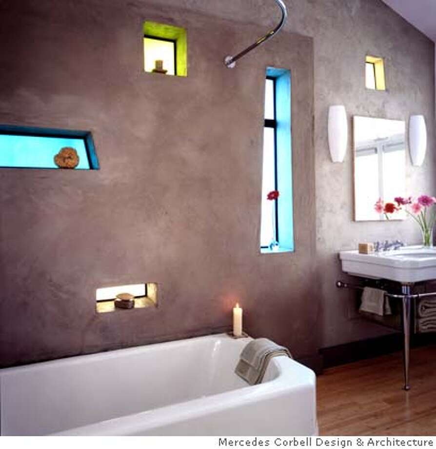 Ross Zimski bathroom transformation, 2.25 mag use only, ok for gate and tease, credit Mercedes Corbell Design & Architecture  Ran on: 02-25-2007  At top: Stained-glass windows cut into colored plaster walls warm the room; above, the original sunroom with scaffolding during construction. Photo: Handout