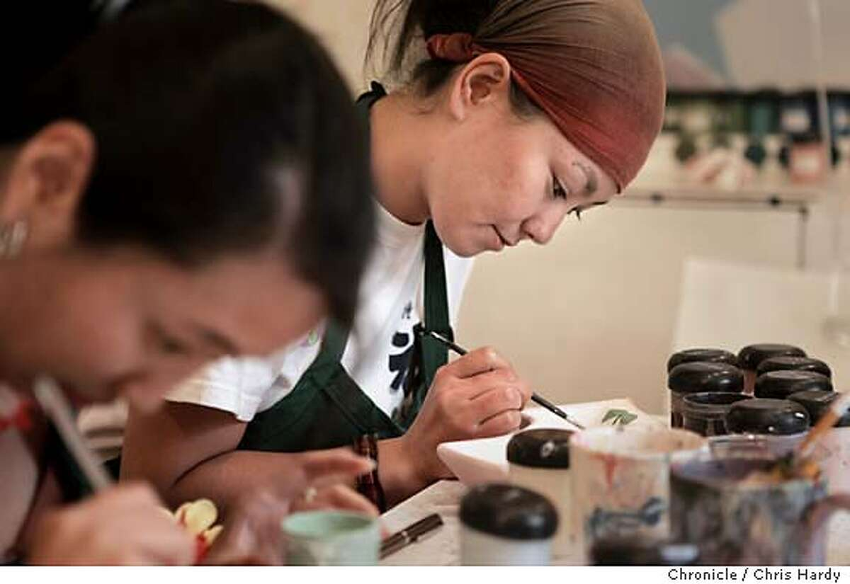 For a story about places to go in San Francisco to indulge your inner creative self, members of Lili Kwan's bridal shower painting ceramics at Terra Mia, a paint-it-yourself business in Noe Valley. in San Francisco 8/14/05 Chris Hardy / San Francisco Chronicle