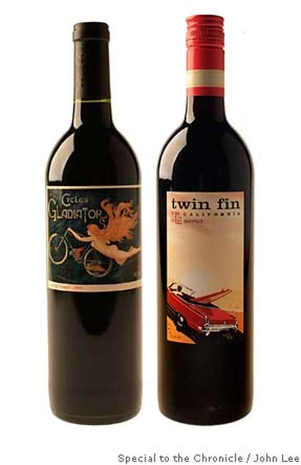 BARGAINS16_01JOHNLEE.JPG  2004 Cycles Gladiator Central Coast Merlot.  2003 Twin Fin California Merlot.  By JOHN LEE/SPECIAL TO THE CHRONICLE Photo: JOHN LEE