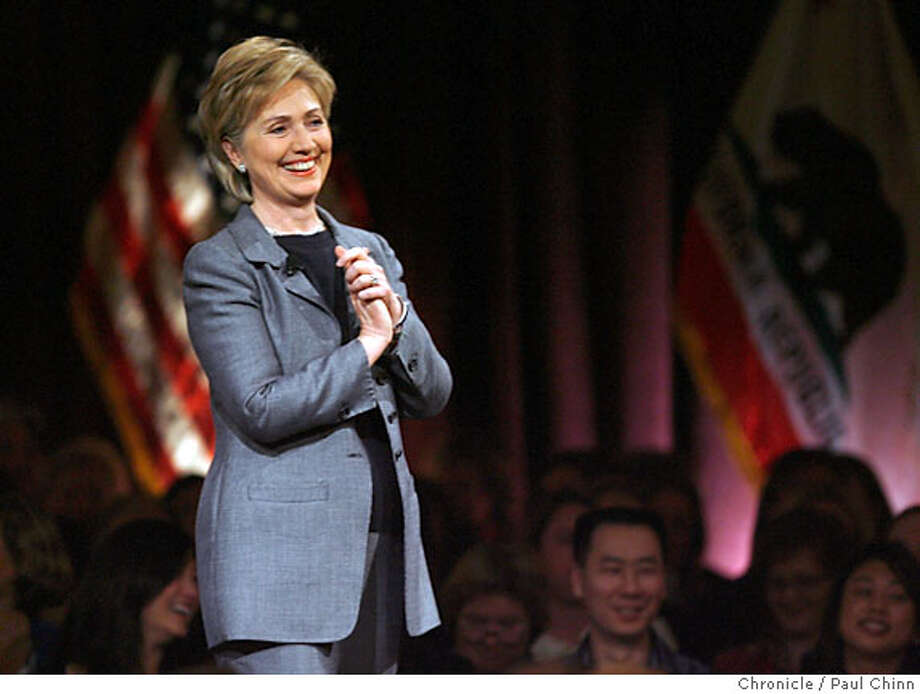 Senator Hillary Rodham Clinton brought her Democratic Presidential campaign to a fundraiser at the Palace Hotel in San Francisco, Calif. on Friday, February 23, 2007.  PAUL CHINN/The Chronicle  **Hillary Rodham Clinton Photo: PAUL CHINN
